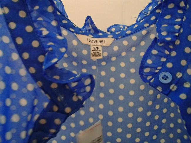 Forever 21 Polka Dot & Polka Dot Sleeveless Top Blue & White