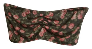 See You Monday Made In The Usa Bandeau Crop Floral Vintage Inspired Top grey and light pink