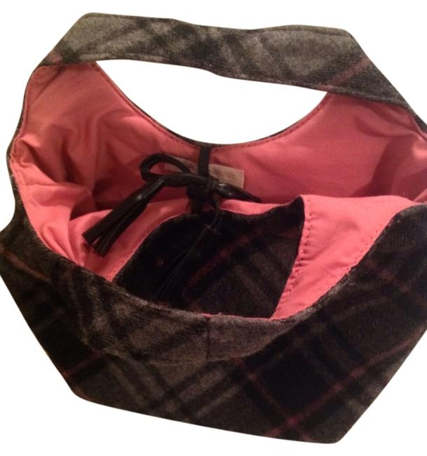 Item - Gray Plaid and Pink/Black Accents Wool with Cotton Inside Tote