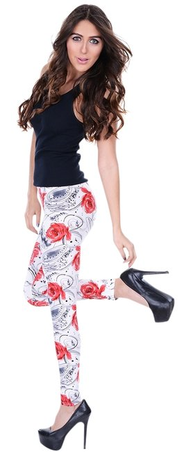 Betsey Johnson Modern Style Edgy Colorful Roses Leggings
