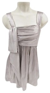 Vera Wang Womens Lavender Label Dove Silk Sleeveless Top Gray