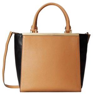 Michael Kors Lana Medium Black/Suntan Shoulder Strap Tote in BLACK/SUNTAN