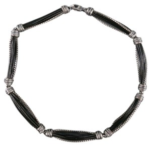 Emporio Armani EMPORIO ARMANI Silver & Black Sterling Silver Leather Chain Necklace