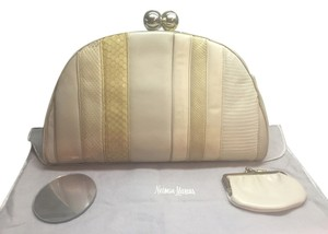Judith Leiber Snake Alligator Cream Clutch