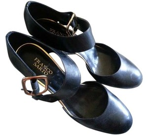 Franco Sarto Buckle Leather Black Pumps