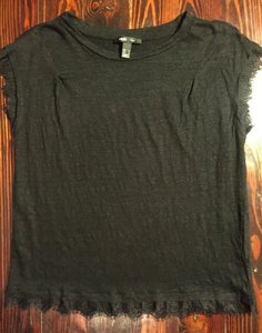 Mango Linen Lace Crop T Shirt Black