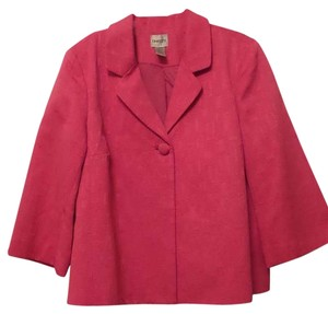 Chico's Textured O Swing Geometric Bright Pink Jacket