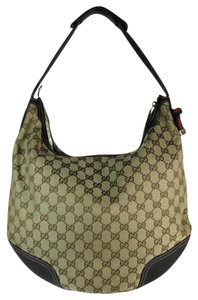 Gucci Leather Gg Brown Beige Tote