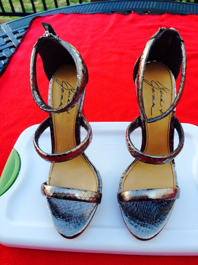 Other Snakeskin Leather Zipper In Back Bronze Sandals