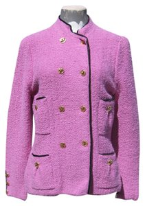 Adolfo Vintage Boucle Knit Satin Piping lilac pink Jacket