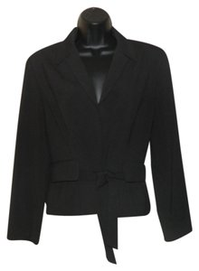 Belted Snap Closure Black Blazer