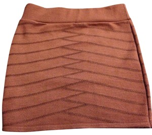 Unknown Stretchy Pattern Skirt Brownish-Orange