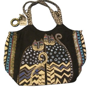Laurel Burch Tote in black with cat design