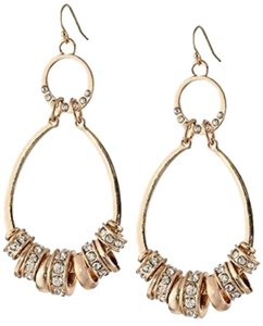 Jessica Simpson New Jessica Simpson Rose Gold Tear Drop Earrings with Rhinstone Charms.