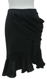 Balenciaga Draped Flounce Ruffle Skirt black