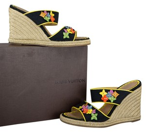 Louis Vuitton Black/Tan/Yellow Wedges