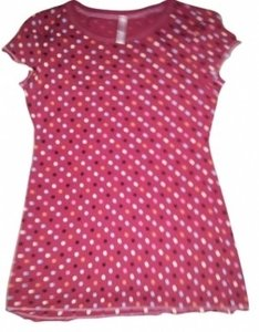 Xhilaration T Shirt Pink Polka dot