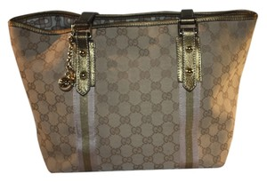 Gucci Gg Logo Vintage Canvas Leather Monogram Tote in Beige Gold