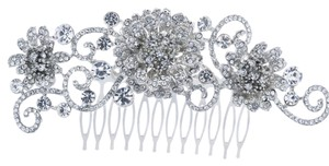 Wedding Hair Comb flower vine silver crystal rhinestone wedding bling bridesmaid leaf diamond cz zircon luxury vtg