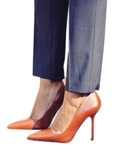 Zara Leather Stiletto Heel Pointed Toe brown Pumps