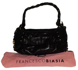 Francesco Biasia Leather Braided Handle Stylish Trendy Satchel in Black