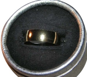 Gold Tone Wide Stainless Steel Band Ring Free Shipping
