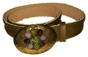 Streets Ahead Streets Ahead Green Leather Studded Bejeweled Belt Fancy Buckle M