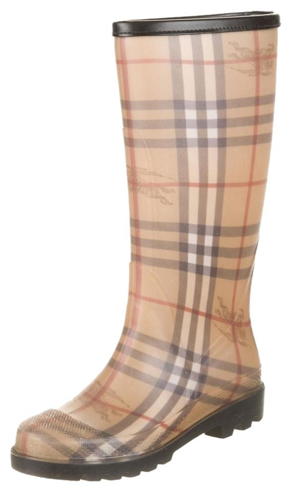 Burberry Brown Beige Rubberized Boots/Booties Haymarket Check Round-toe Rain Boots/Booties Rubberized 2b20cf
