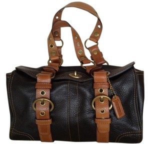 Coach Leather Satchel in Black and Tan
