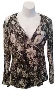 J. Jill Floral Silk Wrap Top Black and White
