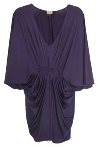 S Line Grecian Draped Spandex 3/4 Sleeve Batwing Dress