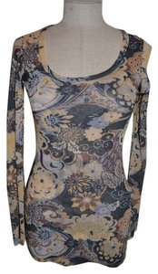 Sweet Pea by Stacy Frati Mesh Floral Antropologie Boho Scoop Neck Top Beige+Blue
