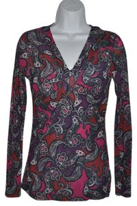 Sweet Pea by Stacy Frati Mesh Antropologie Boho V-neck Paisley Top Jewel Tone