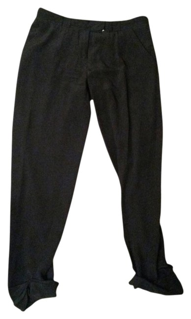 Tory Burch Silk Cropped Business Casual Relaxed Pants Black