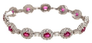 18k White Gold Diamond and Ruby Bracelet