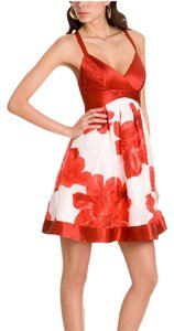 Guess short dress Red+White Floral 100% Silk Mini Date Night Night Out on Tradesy