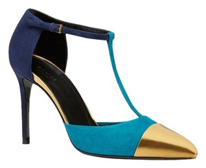 Gucci Heel Heels Suede Made In Italy New With Box Color Block Size 9 39 Blue/ Gold Pumps