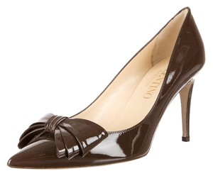 Valentino Patent Patent Leather Brown Pumps