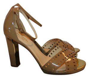 Kate Spade Nude Patent Leather 'fresia' Ankle Strap Heels beige Pumps