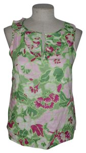 Talbots Top Green+Pink
