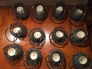 12 Wicker Baskets W/ Led Flicker Candles