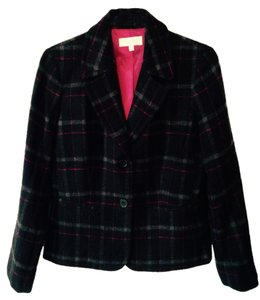 Talbots Black, red, gray plaid Blazer