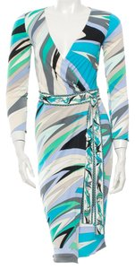 Emilio Pucci Multicolor White Wrap Longsleeve Abstract Print Logo Monogram New 4 S Small 38 Dress
