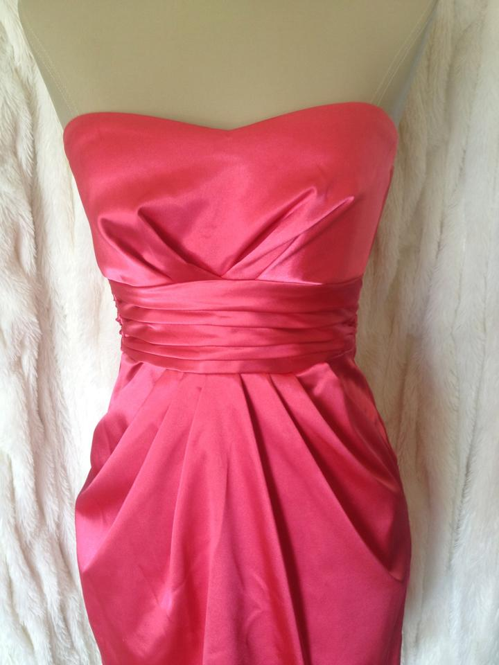 Teeze Me Strapless Bright Coral Pink Bow Euc Above Knee Formal Dress ...