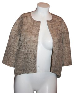 Louben Open Front Textured Gold Blazer