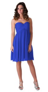 Blue Strapless Sweetheart Pleated Bust Chiffon Dress