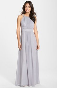 Eliza J Silver Embellished Chiffon Gown Dress