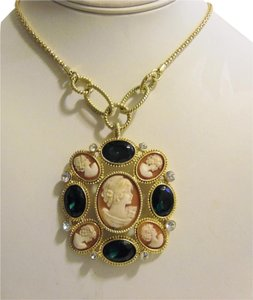 AMEDEO Amedeo Cameo & Crystal Pendant with Chain 17 Inch