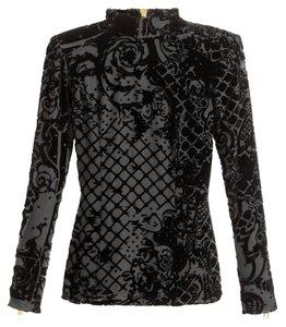 Balmain x H&M Velvetblouse Black Blouse Top Black Velvet