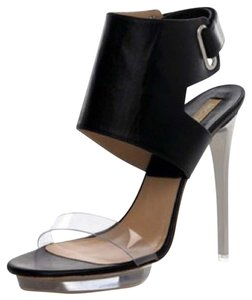 Michael Kors Runway Heels Stilletos 2010 Spring Ankle Cuff Velcro Silver Metallic Tall Clear Black Platforms